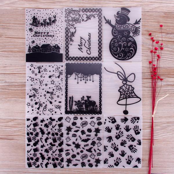Christmas Halloween Plastic Embossing Folders For DIY Craft Scrap Paper Card Making Decor