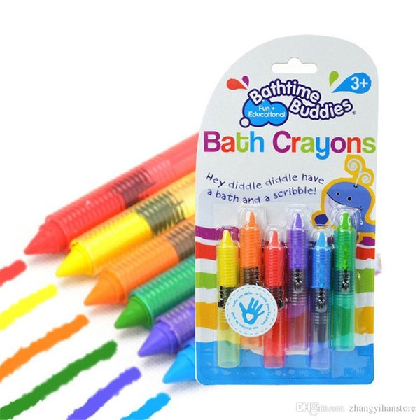Wholesale- 6Pcs/Set Hot Sale Drawing Toys Bath Toy Baby Bath Crayons Toddler Washable Bathtime Safety Fun Play Educational Kids Toy