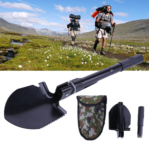 3 in 1 Multi-function Portable Ultra Lightweight Folding Tactical Shovel Spade Trowel Camping Hiking Multi Outdoor Tools 1 Set