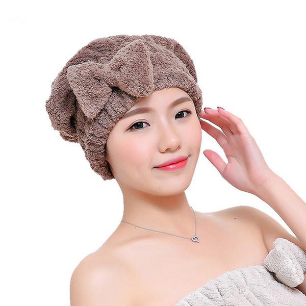 Bowknot Women Bathroom Absorbent Quick-drying Polyester Cotton Bath Towel Hair Dry Cap Head Wrap Hat Salon Towel Dry hair cap
