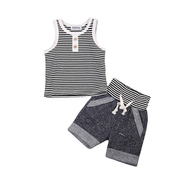 Summer Baby Boy Clothes Set Cotton Vest Sleeveless T shirt Tops + Short Pants 2pcs Infant Boys Outfits Striped Button Boys Clothing Sets