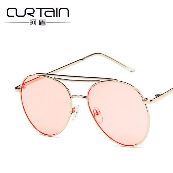 CORTINA Gafas de sol Feminino Gafas de sol Mujer Vintage Nuevo Metal Ocean Gafas de sol Moda Tendencias Retro Unisex Gafas de sol