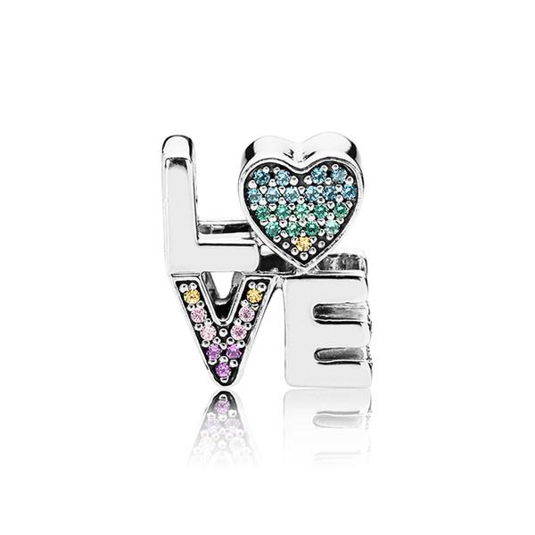 925 Sterling Silver Love Letter Charms Couleur Cristal Diamant Bijoux Perles Européennes fit Pandora Bracelet Charms avec Boîte d'origine
