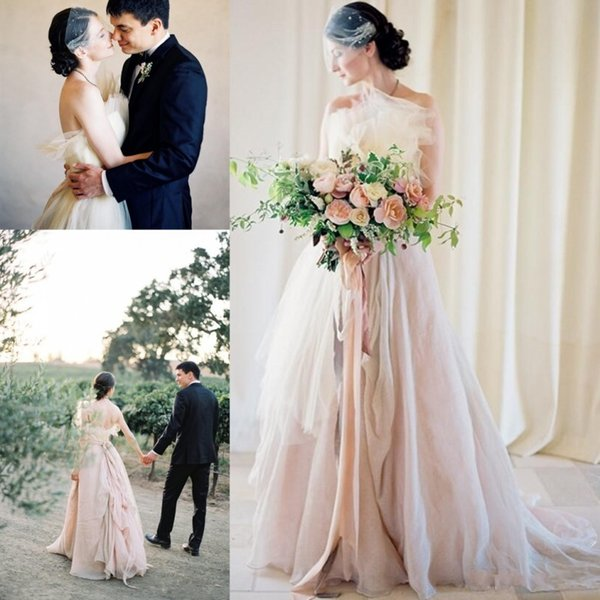 Discount Vintage A Line Blush Wedding Dresses Asymmetrical Beach