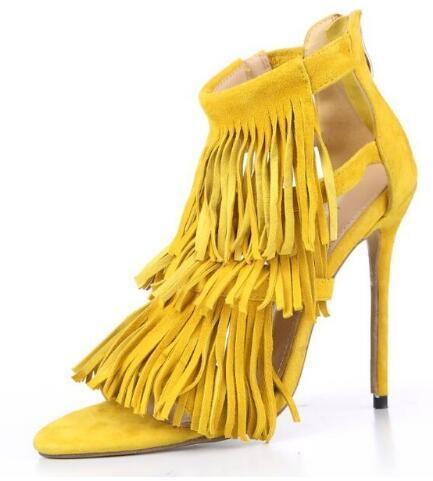 summer Style Tassel suede women sandals thin high heels back zip dress party shoes for women and girl grey yellow pumps