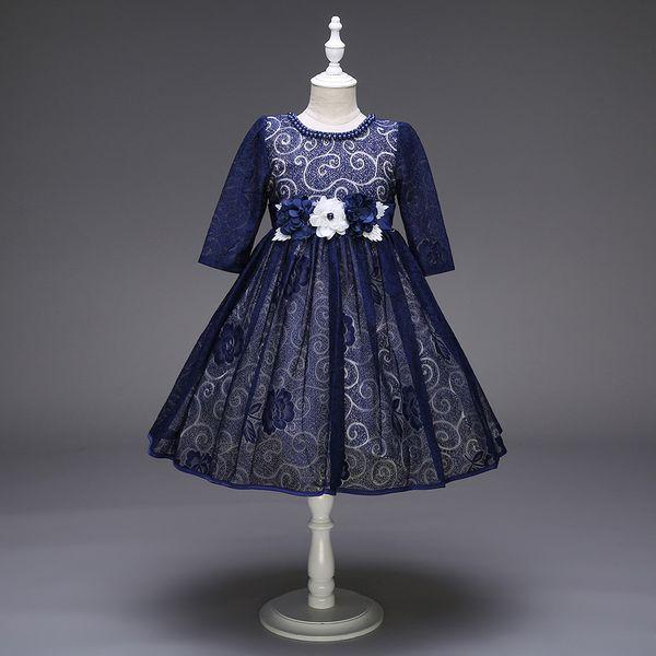 Dark Blue Flower Girl Dress Floral Pattern Round Neck Half Sleeves Gilrs Formal Occasion Dresses Knee Length Pearl Decoration Neckline