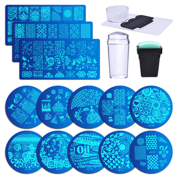 13Pcs Flower Forest Image Nail Plates + 2 Stamper Scraper Sets Nail Art Stamping Plates Stamp Plate Art Tools