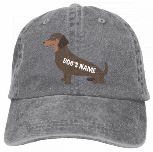 Dog Owner Gift Dachshund Add Dog's Name Wiener Dog Gift Vintage Classic Unisex Baseball Cap Adjustable Washed Dyed Cotton Ball Hat 4344484