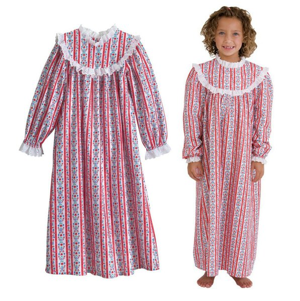 4b408cb9a8 4-16Y big girl fadket summer long sleeve Nightie dress pajamas kids  childrens girls sleepwear