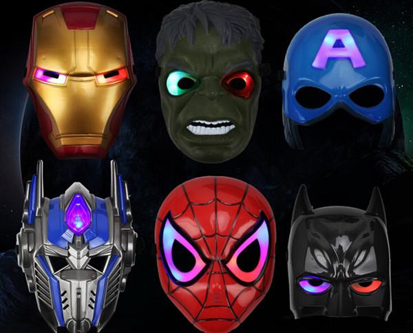 2018 new Christmas Mask LED Masks Children Animation Cartoon Spiderman Light Mask Masquerade Full Face Masks Halloween Costumes Party