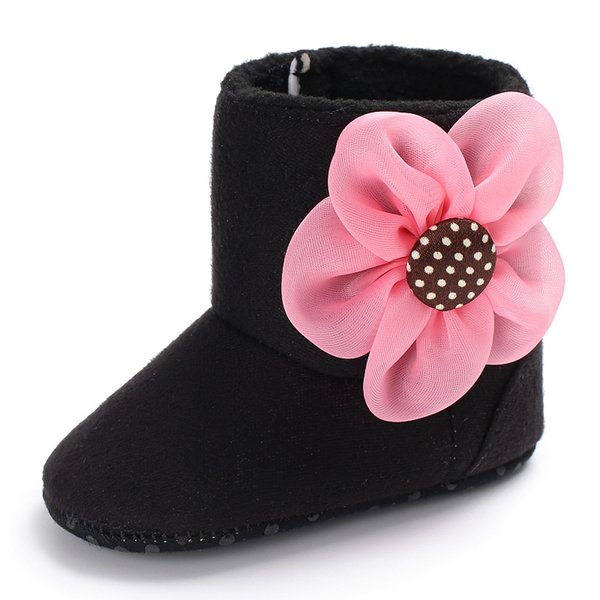 Baby Girls Boots with Big Flower Anti-Slip Super Soft Sole Winter Snow Boots Infant Warm Shoes