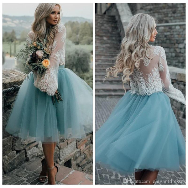 Lace Top Long Sleeves Two Piece Tulle Skirt Homecoming Dresses White Lace Top with Tutu Skirt Knee Length Prom Dress Cheap Party Gowns