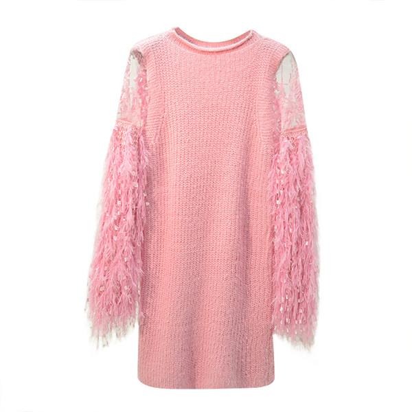 YYFS Autumn Winter Woman Knitted Long Sweaters Tassel Lantern Long Sleeve Fashion EleWomen Knitting Sweater Pullovers