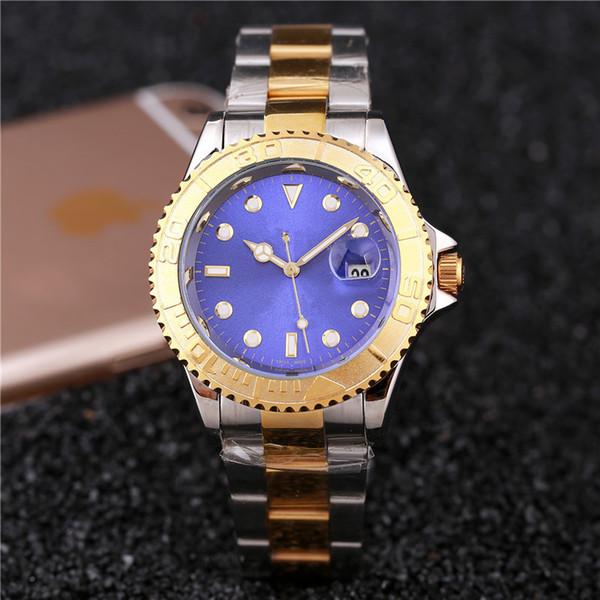 40 MM diamante relógios relógios mens relógios de luxo vestido de grife de moda Dial Preto Calendário Pulseira de ouro Fecho Dobrável Macho Masculino