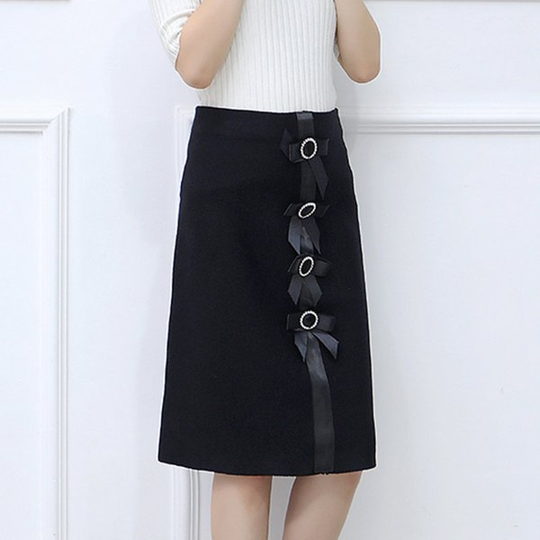 New 2019 Skirt Autumn Elegant Office Skirts Women High Waist Faldas Mujer Casual Black Skirt Chic Bow Saia Femme Invierno