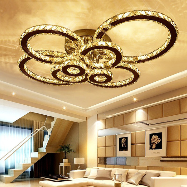Lámpara de luces de techo de cromo con luz empotrada de techo de cristal K9 LED Lámpara de 8 luces de araña de LED redondas con control remoto para sala de estar