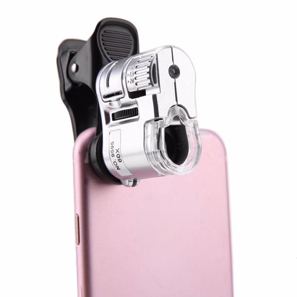 Evrensel 60X Cep Telefonu Mikroskop Makro Lens Yakınlaştırma Mikro Kamera Klip LED Işık Telefon lens ile