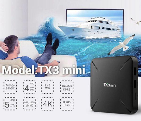 TX3 Mini L Android TV BOX Amlogic S905W Quad Core 1GB + 8GB 2.4G Wifi Android 7.1 Reproductor multimedia al vapor
