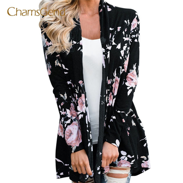 Chamsgend Women Casual Blumendruck Pullover Mantel Herbst Strickjacke Outfit Drop Shipping 7915