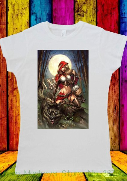 Women's Tee Wild Red Riding Hood Girl With Wolf T-shirt Men Women Unisex 2381 Short Sleeve Women Tshirt
