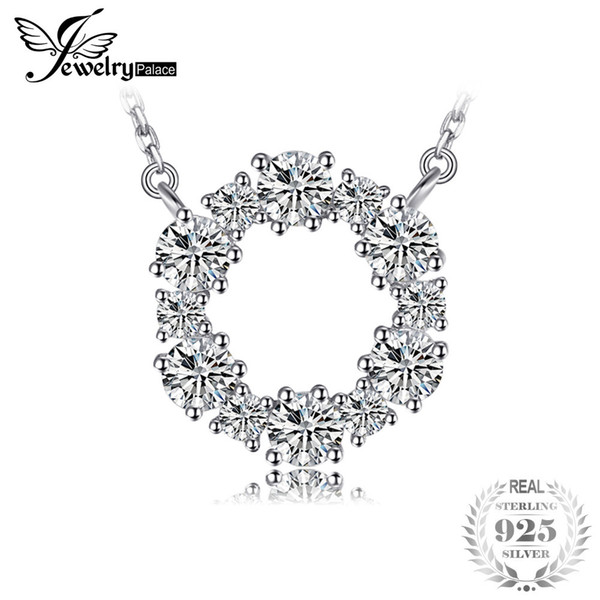 JewelryPalace 925 Sterling Silver Circle Chain Pendant Collar Necklace 45cm Fine Jewelry Necklaces Nice Gift For Women Y1892805