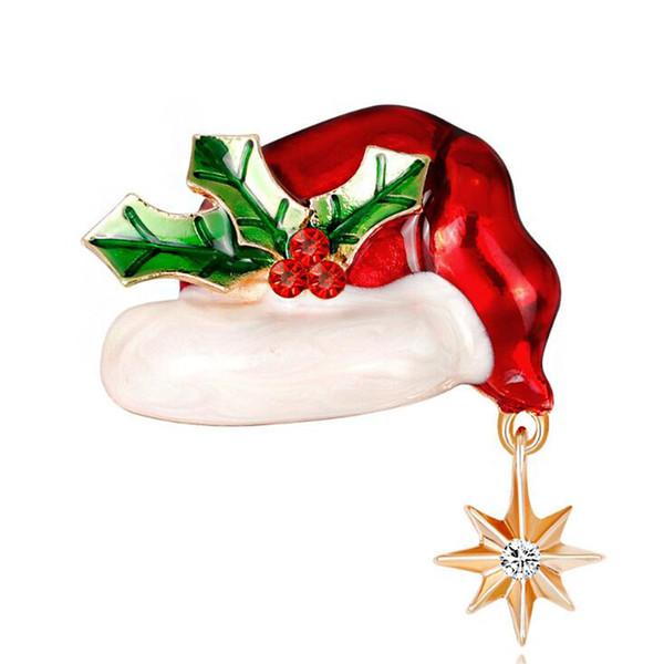 2019 Yeni Noel Süsler Vintage Noel Şapka Broş Yüksek Kalite Taklidi Alaşım Broş Çift Parti Hediyeler