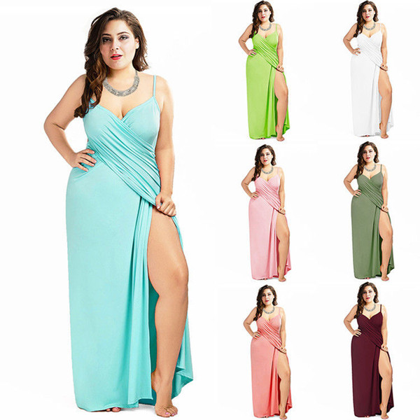 Plus Size Swimsuit Cover Ups For Women Spaghetti Strap Backless Beach Wrap Long Dresses Solid Color