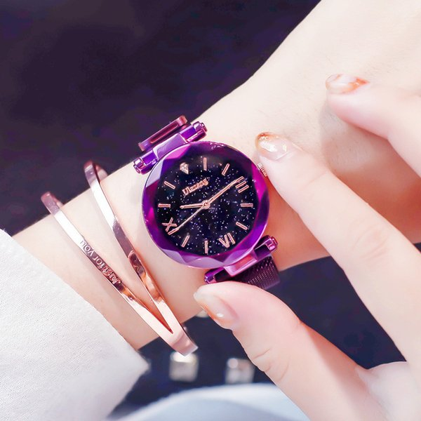 Popular Women Watches Fashion Elegant Magnet Buckle Mysterious Purple Lady Wristwatch 2018 Starry Sky Roman Numeral Gift Clock Y18102310