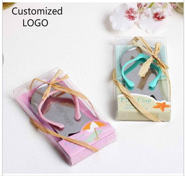 300 pcs/lot Customized Wedding Gifts Pink Flip Flop bottle opener Wholesale For wedding favors party favors Free shipping