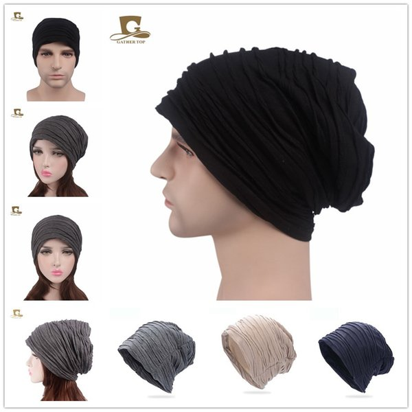 Winter Tide Lover Wrinkled Cotton Headband Long Heap Pile Cap New Mother Hat Unisex Hair Accessories free shipping