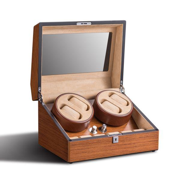 Relógio Winder 4 + 6 pele de madeira relógios de luxo caixa de exibição organizador caixa de motor girar caso relógios de pulso de bloqueio de couro de veludo