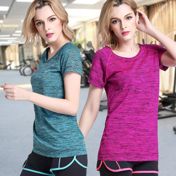 024089e71 5 Colors Women Yoga Shirt for Fitness Running Sports T Shirts Gym Quick Dry  Sweat Breathable