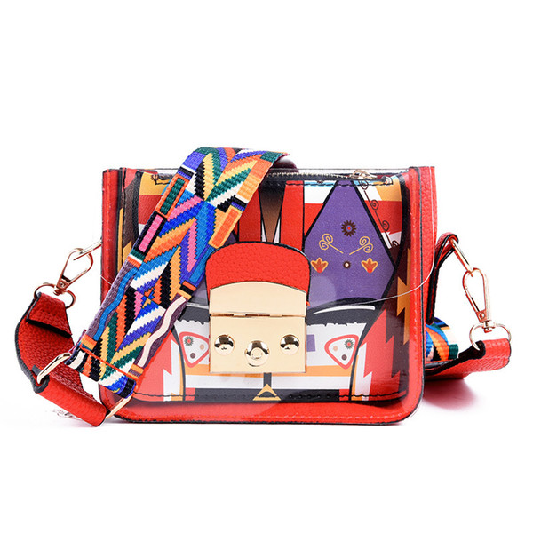 Wholesale Summer high quality women mini messenger handbag PU PVC clutch transparent clear bag wide shoulder straps bag