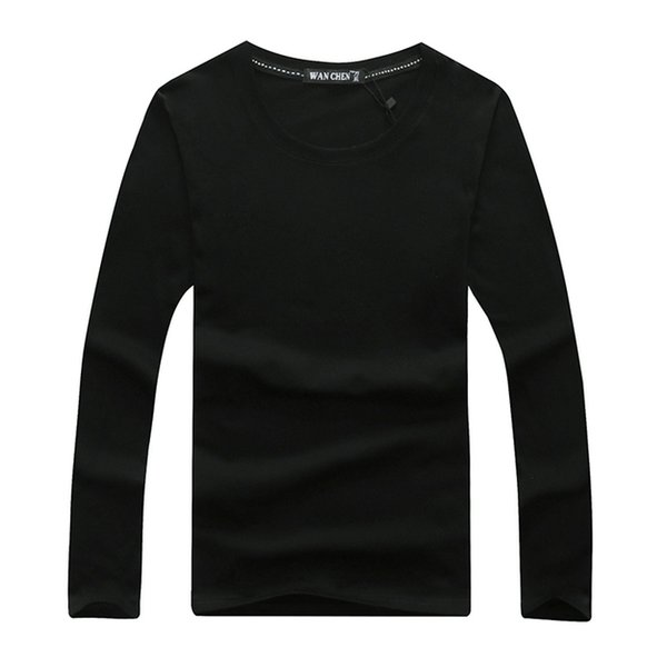 Wholesale men Tshirt Solid color cotton Thin Breathable tops tees S-4XL long sleeve Spring autumn sweater Sweater hoodie men t shirts S-4XL
