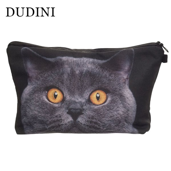 DUDINI Women Neceser Portable Make Up Bag Case 3D Printing British Cat Organizer Bolsa Feminina Travel Toiletry Cosmetic Bag
