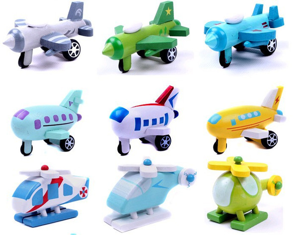 Random delivery,12 pcs/set Cute mini wooden airplane toys for kids,wooden plane,helicopter,warplane,bomber