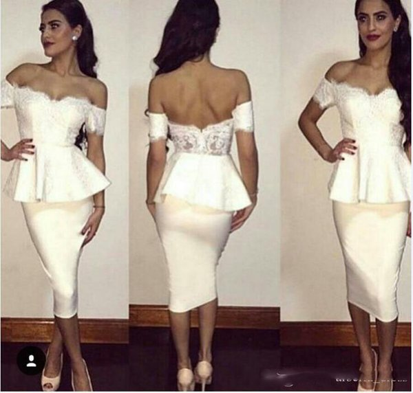 Tea Length Cocktail Dresses Short White Off Shoulder Short Sleeves Lace Open Back Party Gowns Sheath Arabic Prom Evening Dress