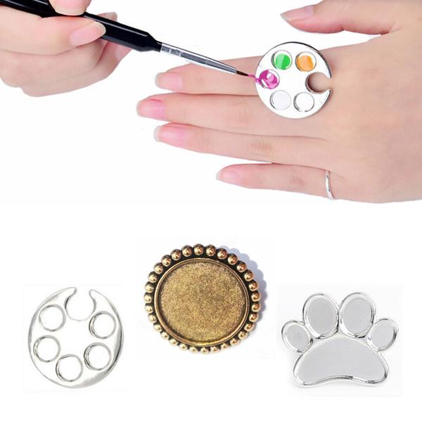 Acheter Palette De Vernis Couleur De Bricolage En Acier Inoxydable Palette Polonaise Peinture De Dessin 3 Mini Style Doigt Manucure Bague Main Nail