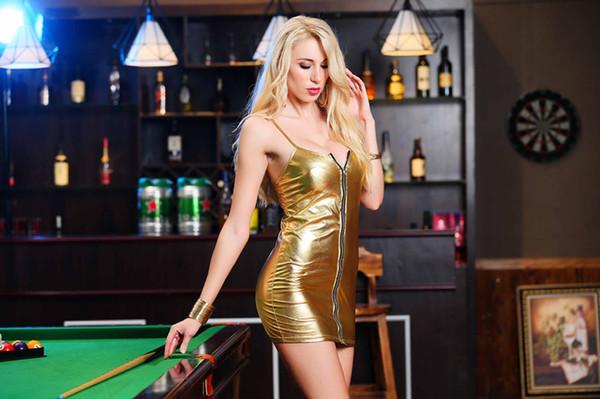 Бесплатная доставка !!! Плюс Размер Женщины Сексуальное белье Кожа PU скольжения Мини Эротическое платье партии Ночной клуб колготки порно эротическое белье Секс костюм