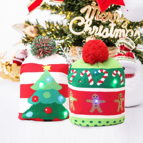 Funny LED Knitted Christmas Hat Kids Adults Warm Hat New Year Christmas Decoration Party Tree Snowflake Hat JLE168