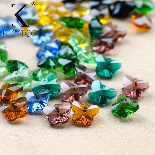 14mm 30pcs/lot butterfly glass fashion jewelry making  crystal  for Necklace bracelet making DIY Accessories