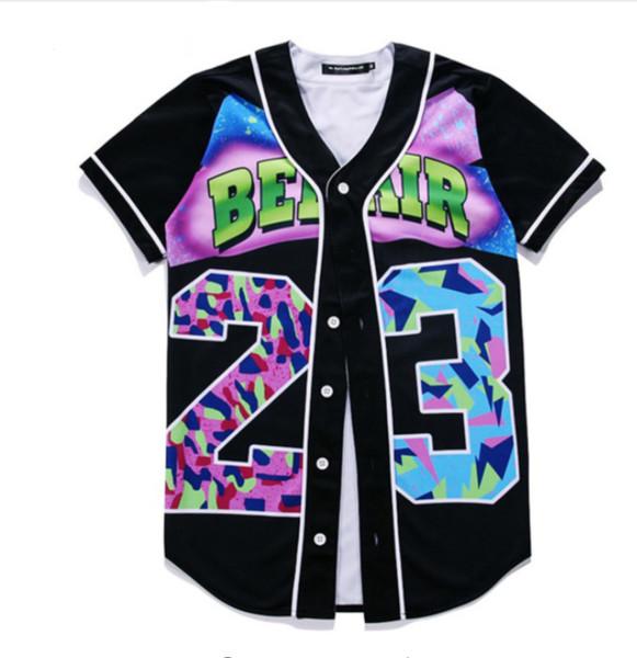 Новая мода 3D футболка летний стиль хип-хоп мужчины футболка хип-хоп Бел Эйр 23-свежий принц унисекс Бейсбол равномерное пара рубашка Bqf05