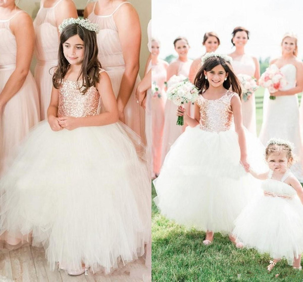 Blush Rose Gold Sequins Wedding Party Flower Girls' Dresses 2018 Cap Sleeve Puffy Ball Gown Communion Little Girl Formal Dresses