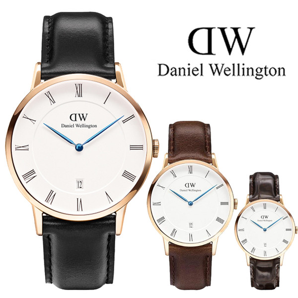 New D Wellington Brand Waterproof Men's calendar Quartz Watch Men Leather Dress Wristwatches Fashion Casual 40mm Watches Montre homme