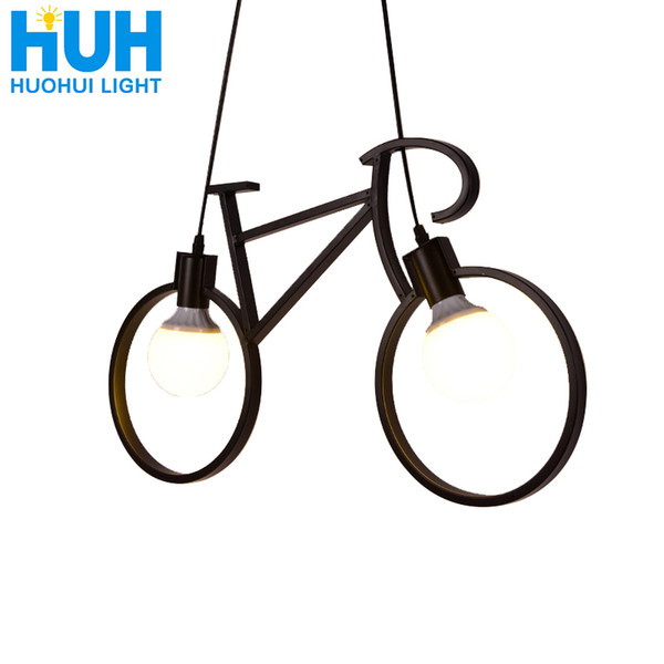 Lustre do vintage Ferro Forma de Bicicleta Lâmpada Pingente Criativo E27 110 V-240 V CONDUZIU a Lâmpada Edison Titular Casa / Sala de Jantar iluminação