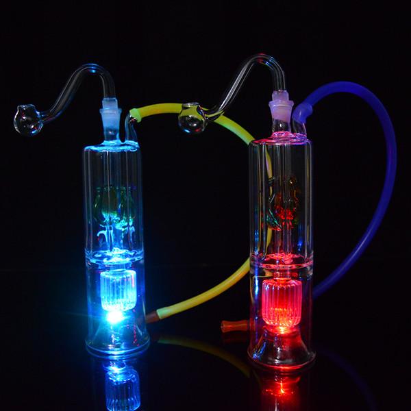 Mini Bongs Dab Rig LED Light Bubbler Oil Rig 6