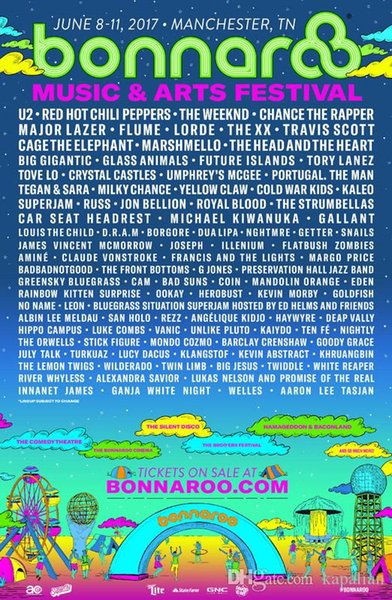 Free Shipping 2017 Bonnaroo Music And Art Festival High Quality Photopaper Art Posters Print Photo paper 16 24 36 47 inches