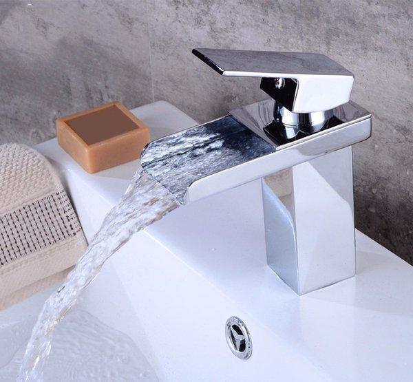 Großhandel Badezimmer Wasserfall Wasserhahn Einzigen Handgriff Auslauf  Waschbecken Mischbatterie Wasserfall Küche Bad Becken Waschbecken  Wasserhahn ...
