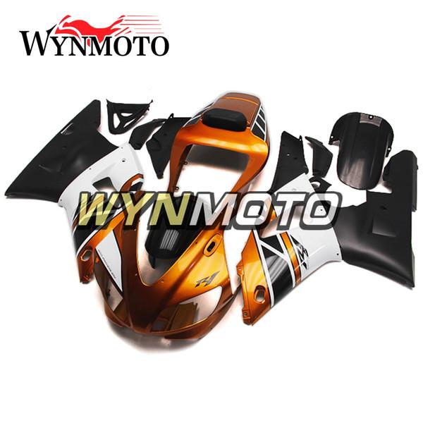Carenados completos para YZF1000 R1 1998-1999 98 99 Inyección ABS Plásticos Marcos del cuerpo Oro Blanco Negro Carenados Cascos para motos YZF R1 98 99 Marco