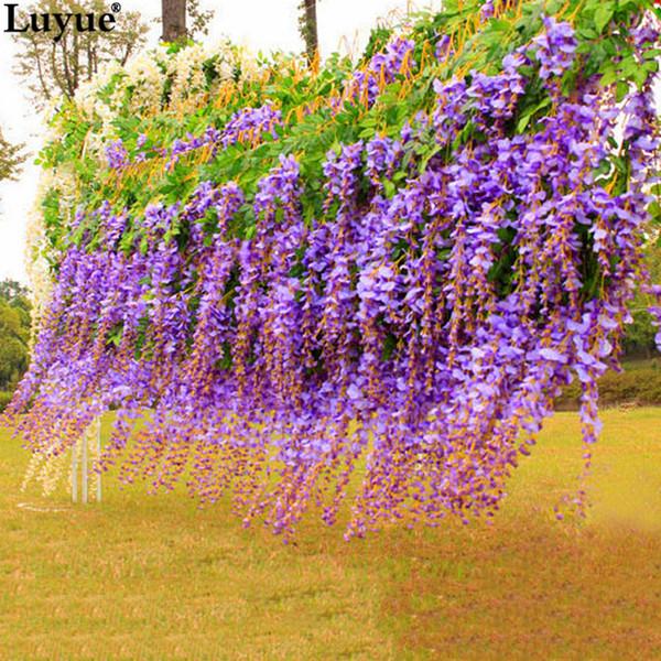 Luyue 12pcs Wedding Decoration Flower Vine Artificial Silk Flower Wisteria Vine Rattan For Home Garden Hotel Wedding Decoration